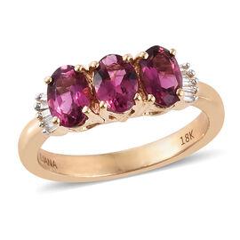 ILIANA 18K Y Gold AAAA Ouro Fino Rubellite (Ovl), Diamond (SI/G-H) Ring 1.350 Ct.