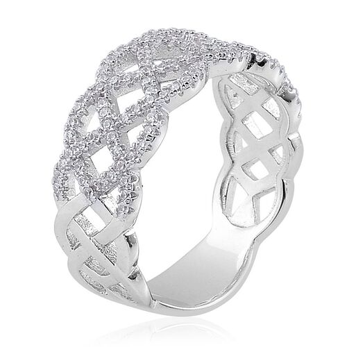 ELANZA AAA Simulated White Diamond Band Ring in Rhodium Plated Sterling Silver