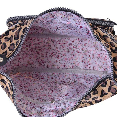 Designer Inspired- Beige, Black and Multi Colour Leopard Pattern Multi Pocket Waterproof Crossbody Bag with Adjustable Shoulder Strap (Size 30X20X10 Cm)