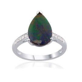 9K W Gold Canadian Ammolite (Pear 1.65 Ct), Diamond Ring 1.750 Ct.