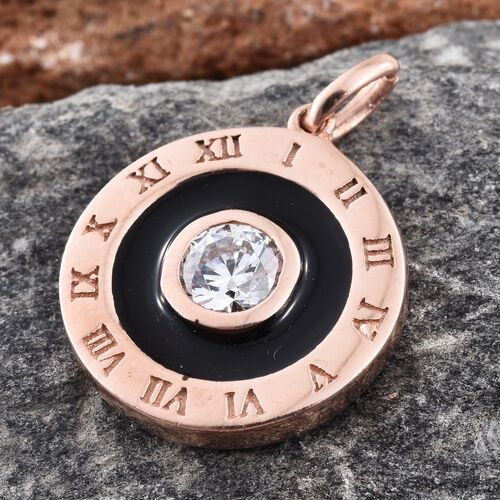 J Francis - Rose Gold Overlay Sterling Silver (Rnd) Roman Numbers Engraved Clock Design Enameled Pendant Made with SWAROVSKI ZIRCONIA