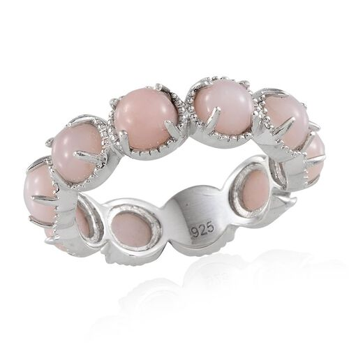 Peruvian Pink Opal (Rnd) Full Eternity Ring in Platinum Overlay Sterling Silver 4.500 Ct.