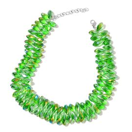 Simulated Emerald Beads Necklace (Size 20 with 2 inch Extender) in Silver Tone