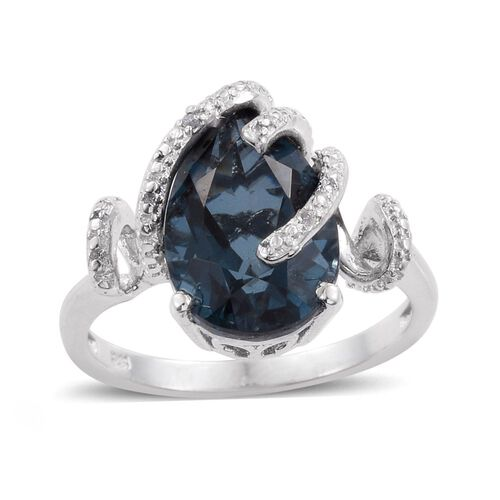 Indicolite Quartz (Pear), Diamond Ring in Platinum Overlay Sterling Silver 6.500 Ct.