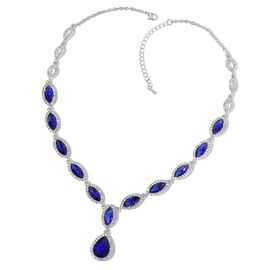 Simulated Tanzanite and White Austrian Crystal Necklace (Size 20 with 3 inch Extender) in Silver Tone
