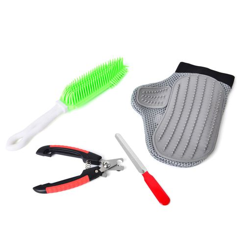 Pet Accessories - Set Of 4 - Grey, Green, Black and Red Colour Glove, Hair Cleaner, Nail Scissors and Nail Filer