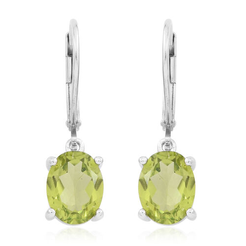 Hebei Peridot (Ovl) Lever Back Earrings in Rhodium Plated Sterling Silver 4.000 Ct.