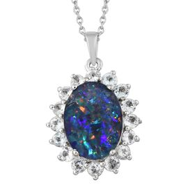 Rare Size Australian Boulder Opal 5.10Ct (Ovl 16x12 mm), White Topaz Pendant with Chain in Platinum Overlay Sterling Silver 7.500 Ct.
