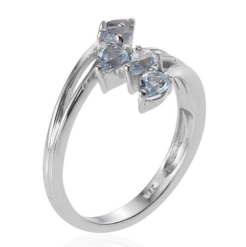 Sky Blue Topaz (Pear) 5 Stone Crossover Ring in Platinum Overlay Sterling Silver 1.000 Ct.