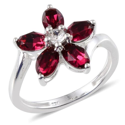Crystal from Swarovski - Ruby Colour Crystal (Ovl), White Crystal Floral Ring in Sterling Silver