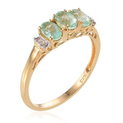 Boyaca Colombian Emerald (Ovl), Diamond Ring in 14K Gold Overlay Sterling Silver 1.500 Ct.