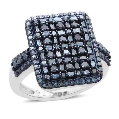 Blue Diamond (Rnd) Cluster Ring in Platinum Overlay Sterling Silver 1.000 Ct.