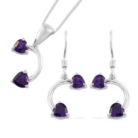 Amethyst (Hrt) Pendant with Chain and Hook Earrings in Platinum Overlay Sterling Silver 2.250 Ct.