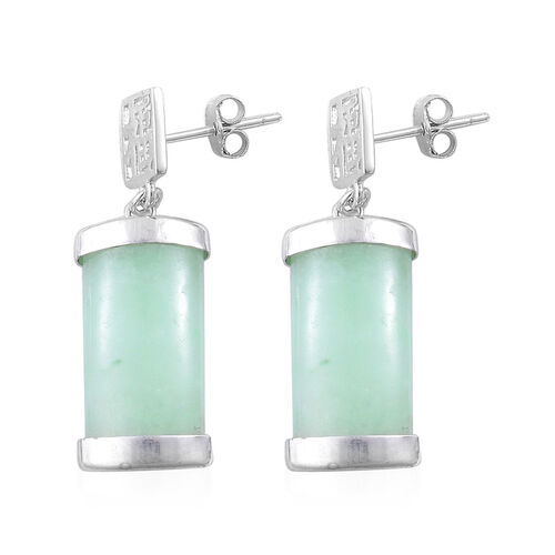 Green Jade Chinese Happiness Symbol Earrings (with Push Back) in Rhodium Plated Sterling Silver 11.000 Ct.