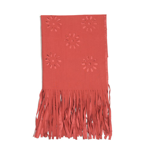 Laser Cut Pattern Red Colour Scarf with Fringes (Size 120x70 Cm)
