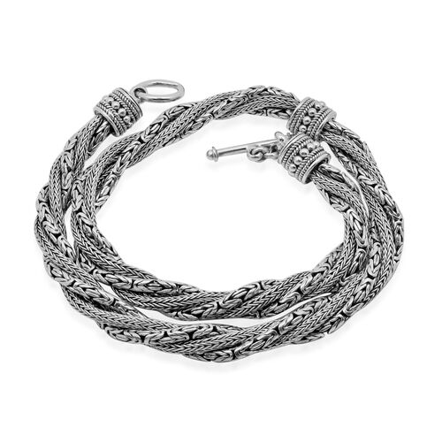 Royal Bali Collection Sterling Silver Borobudur and Tulang Naga Necklace (Size 18), Silver wt 109.33 Gms.