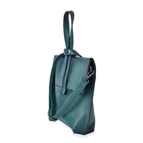 Celina Teal Green Crossbody Bag with Adjustable and Removable Strap (Size 24x19.5x6 Cm)