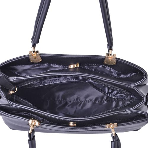 Darley Black Tote Bag with External Zipper Pocket and Adjustable and Removable Shoulder Strap (Size 30x27x22.5x13 Cm)