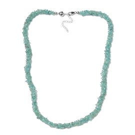 Limited Available- Very Rare Paraiba Apatite Chips Necklace (Size 20 with 2 inch Extender) with Magnetic Clasp in Platinum Overlay Sterling Silver 130.500 Ct.