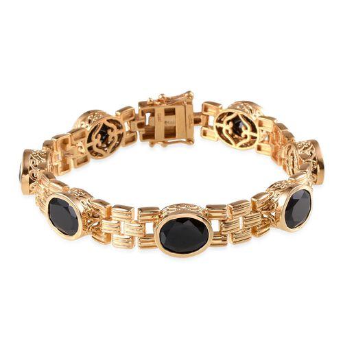 Boi Ploi Black Spinel (Ovl) Bracelet in 14K Gold Overlay Sterling Silver (Size 7.5) 25.000 Ct.