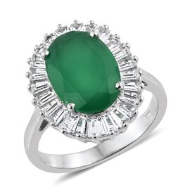 Verde Onyx (Ovl 5.00 Ct), White Topaz Ring in Platinum Overlay Sterling Silver 6.750 Ct.