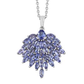 Tanzanite (Mrq and Pear) Pendant with Chain in Platinum Overlay Sterling Silver 3.250 Ct.