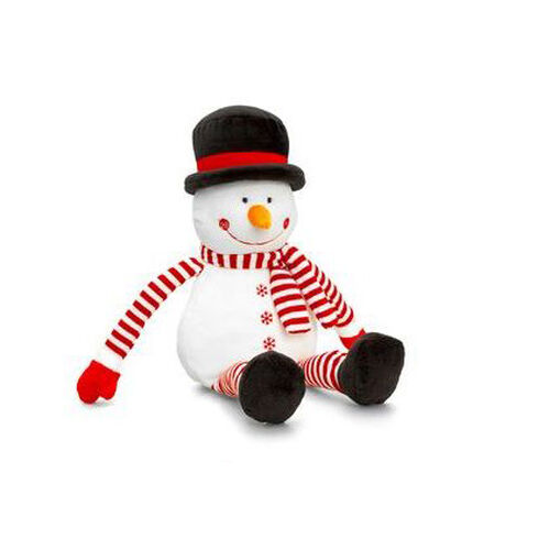 Keel Toys - White and Red Colour Snowman with Black and White Colour Hat (Size 22 Cm)