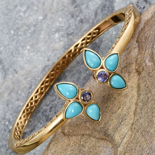 Arizona Sleeping Beauty Turquoise (Pear), Tanzanite Bangle (Size 7.5) in 14K Gold Overlay Sterling Silver 5.000 Ct.