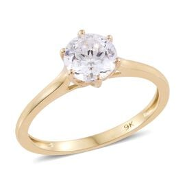 J Francis - 9K Yellow Gold (Rnd) Solitaire Ring Made with SWAROVSKI ZIRCONIA
