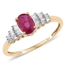 Super Auction-9K Y Gold AAA African Ruby (Ovl 1.05 Ct), Diamond Ring 1.200 Ct.