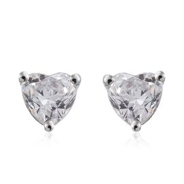 J Francis - 9K W Gold (Hrt) Stud Earrings (with Push Back) Made with SWAROVSKI ZIRCONIA