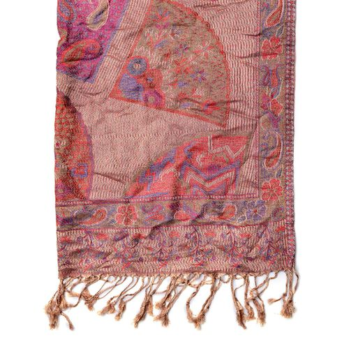 Blue, Cream and Multi Colour Floral and Paisley Pattern Scarf with Fringes (Size 180x68 Cm)