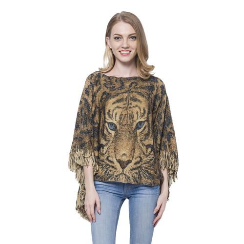3D Digital Printed Tiger Golden Colour Poncho (Size 110x50 Cm)