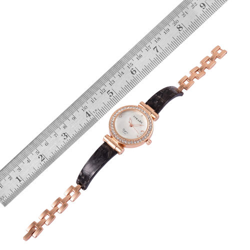 STRADA Japanese Movement White Austrian Crystal Studded White Dial Watch in Rose Gold Tone with Stainless Steel Back and Black Colour Strap