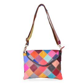 (Option 1) Designer Inspired - 100% Genuine Leather Art Patchwork Top Handle Bag with Adjustable and Removable Shoulder Strap (Size 28X21.5 Cm)