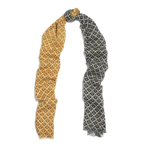 100% Merino Wool Black, Golden and Off White Colour Printed Scarf with Fringes (Size 180X70 Cm)