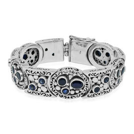 Limited Edition -Designer Inspired Kanchanaburi Blue Sapphire (Ovl) Bracelet (Size 7.5) in Sterling Silver 14.372 Ct. Silver wt 60.00 Gms.