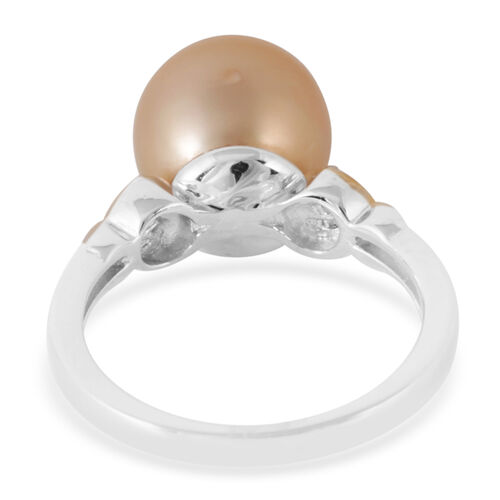 South Sea Golden Pearl (Rnd 10-11mm), White Zircon Ring in Yellow Gold and Rhodium Plated Sterling Silver