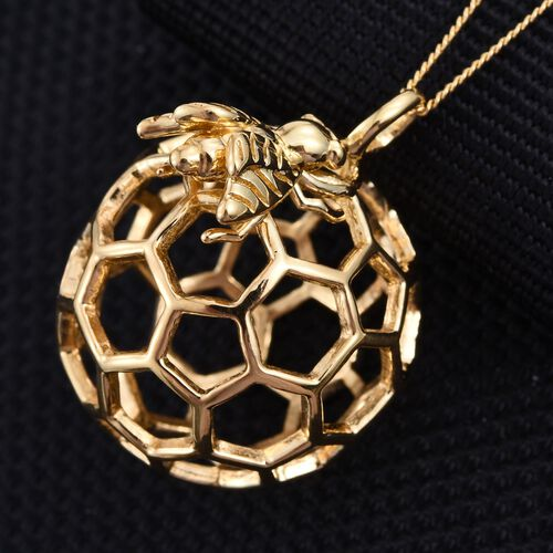 14K Gold Overlay Sterling Silver Honey Comb Bee Pendant With Chain, Silver wt 5.62 Gms.