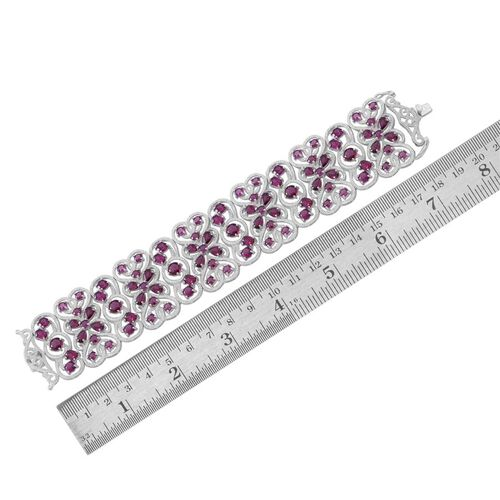 Rhodolite Garnet (Pear) Bracelet (Size 7.5) in Rhodium Plated Sterling Silver 43.000 Ct.Silver Wt 58 gms.