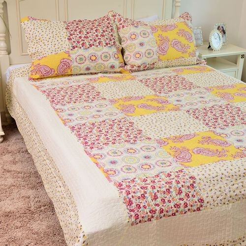 100% Cotton Yellow, Cream and Multi Colour Floral and Paisley Printed Quilt (Size 250X220 Cm) with 2 Pillow Shams (Size 70X50 Cm)