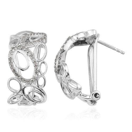 Diamond (Rnd) Earrings (with French Clip) in Platinum Overlay Sterling Silver 0.330 Ct.