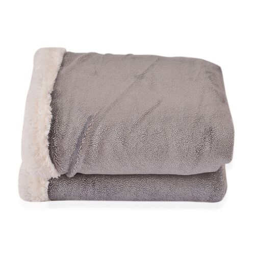 Brand New - Supersoft Grey Sparkly Sherpa Blanket with Silver Foil Printed Silky Flannel (Size 200X150 Cm)