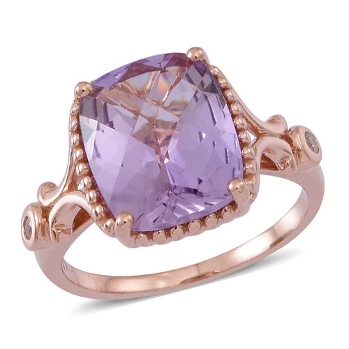 Rose De France Amethyst (Cush 4.42 Ct), Natural Cambodian White Zircon Ring in 14K Rose Gold Overlay Sterling Silver 4.500 Ct.
