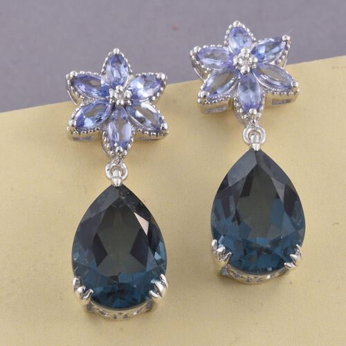 Indicolite Quartz (Pear), Tanzanite Earrings (with Push Back) in Platinum Overlay Sterling Silver 14.000 Ct.