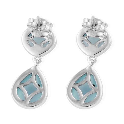 Aqua Chalcedony 8.50 Ct Silver Earrings (with Push Back) in Platinum Overlay