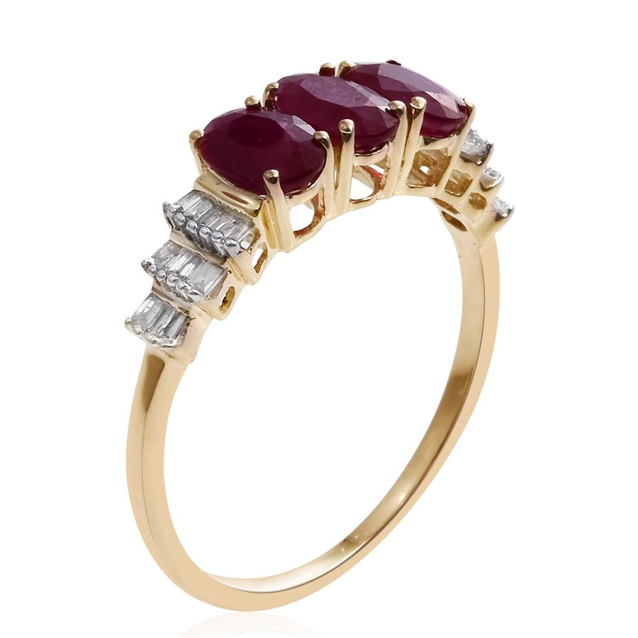 K Gold With Burmese Ruby And Diamond Ring