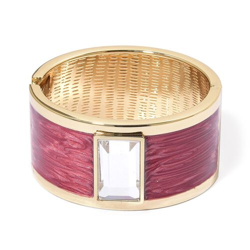 Designer Inspired - AAA Simulated Diamond Fuchisa Colour Enameled Bangle (Size 6.5) in Gold Tone