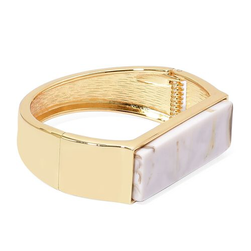 Simulated White Howlite Bangle (Size 7) in Yellow Gold Tone