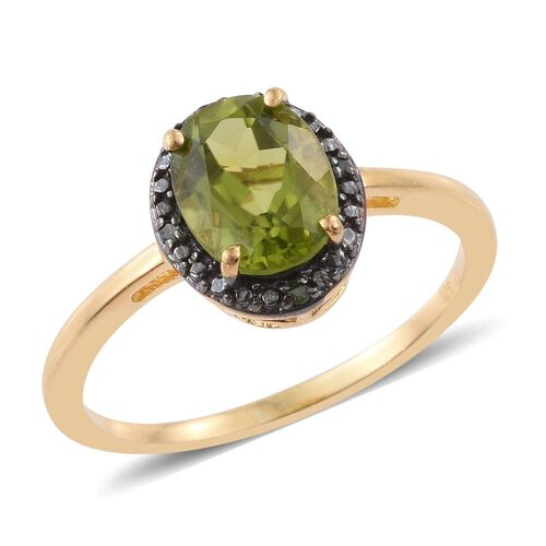 Hebei Peridot (Ovl), Green Diamond Ring in 14K Gold Overlay Sterling Silver 1.750 Ct.